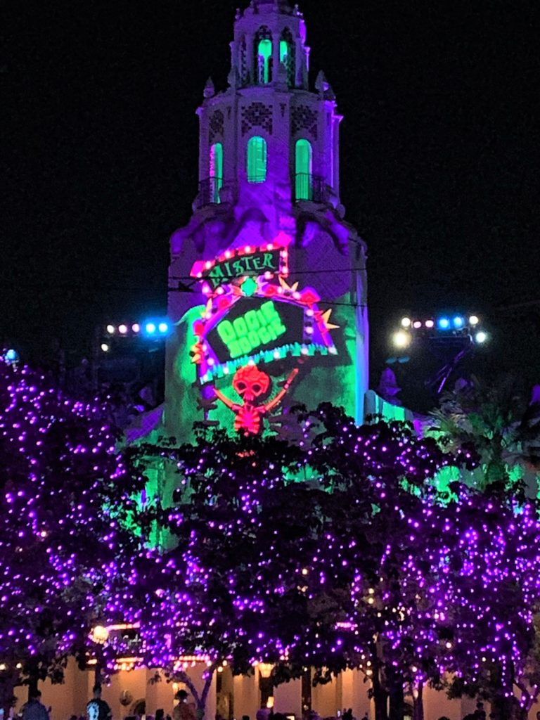 Projections on Carthay Circle at the Oogie Boogie Bash