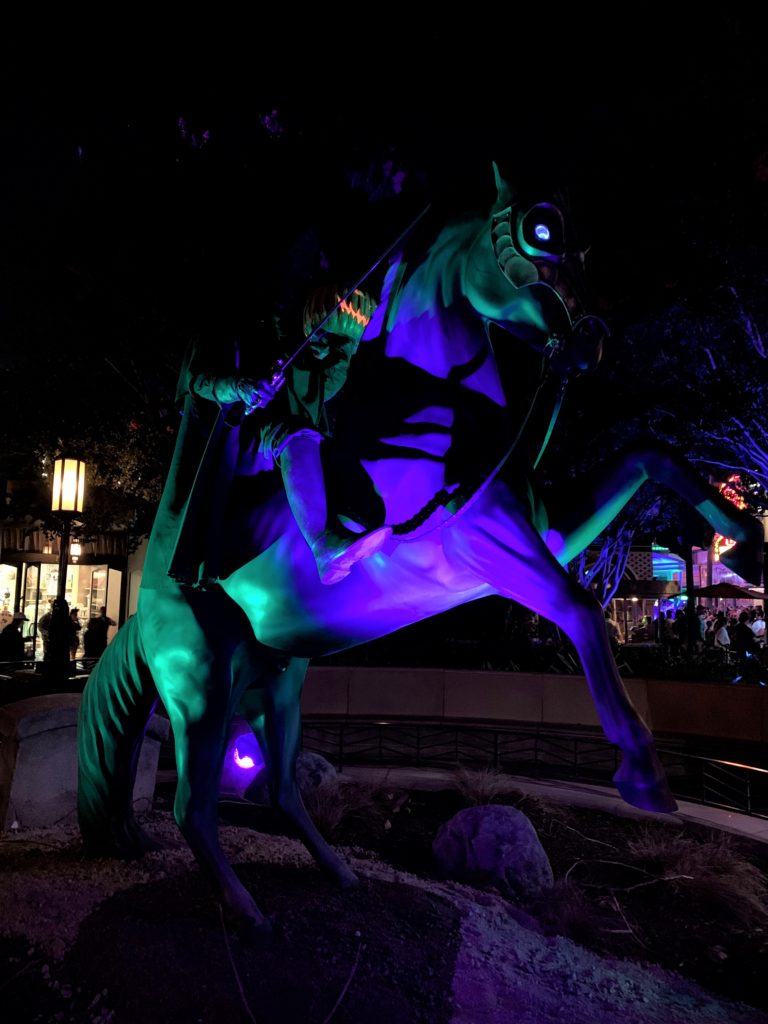 The Headless Horseman statue at the Oogie Boogie Bash