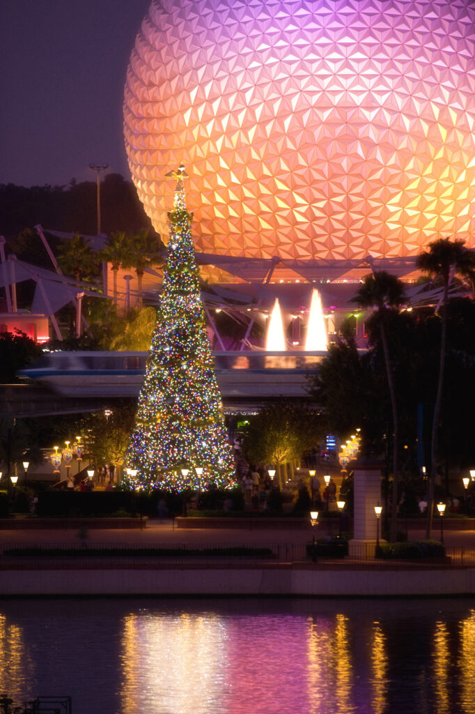 Disney Holiday Offerings We're Thankful For - Chirstmas Tree and Spaceship Earth